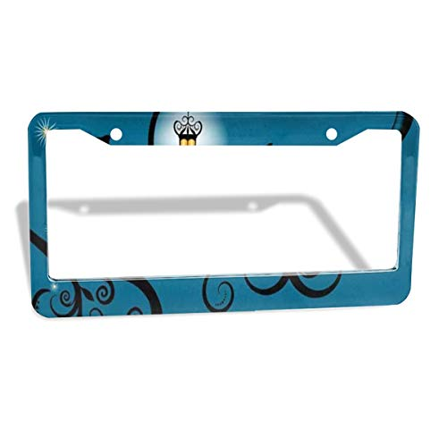 Love beautiful Black Cats Night Cityscape License Plate Frame Metal 2 Pack Aluminum Custom License Plate Cover 2 Hole Frame Standard Non Anti-Theft Model for Cars Womens 12