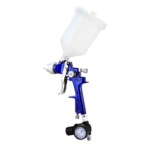 HVLP Spray Gun 1.7 mm Nozzle Pro Air Paint with Plastic Cup Painting Tool with Gauge