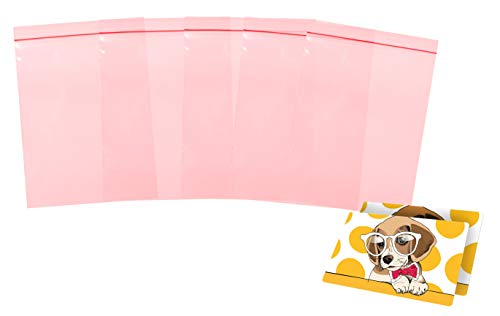 APQ Pack of 100 Anti-Static Seal Top Bags, Pink 8 x 10. Zip Lock Polyethylene Bags 8x10. Ultra Thick Plastic Packs, 4 mil. Great for packaging, storing. Ideal for Industrial Applications. Static Free.