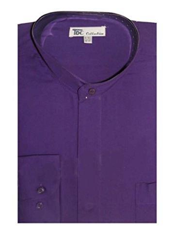 TDC Collection Men's Cotton Blend Banded Collar Dress Shirt SG01-Purple-15-15 1/2-34-35