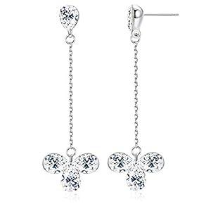 KesaPlan Women's Clover Flower Crystal Dangle Earrings for Women Teardrop Stud Earrings, Bridal Wedding Jewelry Earrings…