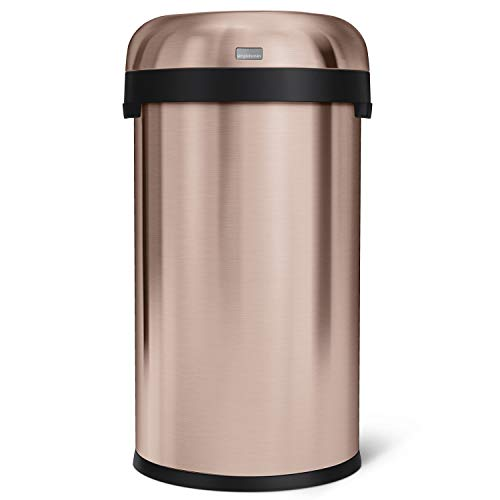 simplehuman 60 Liter / 16 Gallon Bullet Open Top Trash Can Commercial Grade, Heavy Gauge Rose Gold Stainless Steel (Best Trash Compactor 2019)