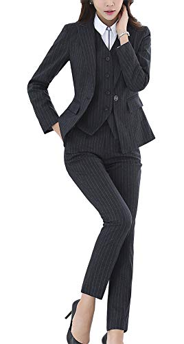 Women's Three Pieces Office Lady Stripe Blazer Business Suit Set Women Suits Work Skirt/Pant,Vest Jacket (Black03, 3XL)