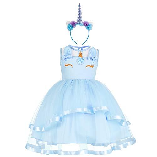 (Baby Girls Toddler Flower Unicorn Sleeveless Costume Pageant Princess Ruffles Tulle Birthday Party Tutu A-line Dress Wedding Bridesmaid Short Prom Ball Gowns with Headband Ruffled Blue)