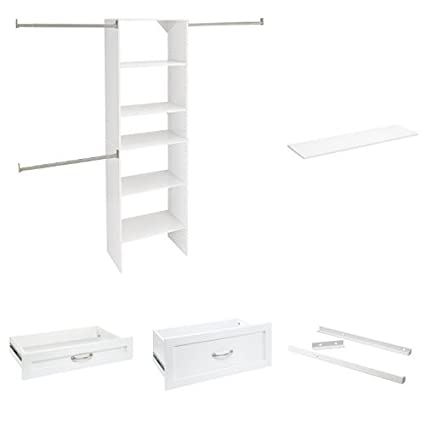 Merveilleux SuiteSymphony 25 Inch Wood Closet Organizer Kit With Two Drawers, Shoe  Shelves And Doors