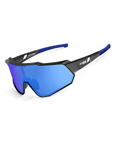 Cool Change Polarized Cycling Sunglasses Full Screen|TR90 Frame|UV400 Protection Sports Glasses for Men Women - Blue (Cool Glass Frames)