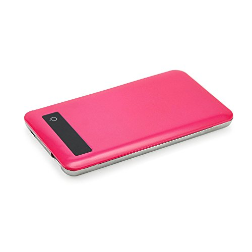 Gearonic 10210-HPINK-CHAR 5000mAh Ultra Thin Power Bank, Hot Pink