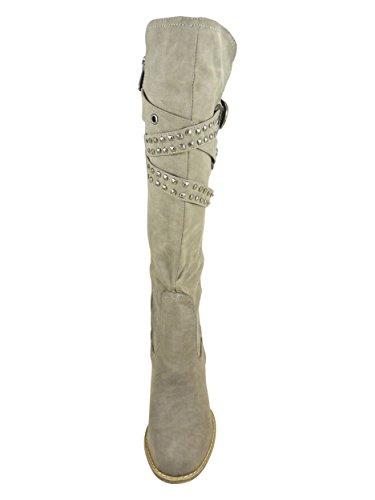 Botas altas para mujer con tacón de 8cm y cremallera, piel sintética Gris - gris