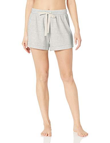 Short Fine Stripe (Amazon Essentials Women's Lightweight Lounge Terry Short, -grey heather stripe, X-Large)
