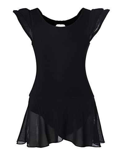 DANSHOW Girls' Ballet Dance Leotards with Flutter Sleeve Petal Skirt and Bowknot Back(6-8years,Black)