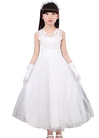 kids girl maxi wedding party evening princess elsa white dress clothes ball  gown ropa de mino d16f4a75b2a3