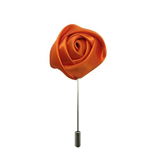 AINOW Wedding Party Boutonniere Men Silk Lapel Brooch Handmade Flower Lapel Pins (Orange Rose) ()