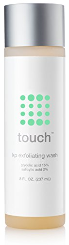 Touch Keratosis Pilaris Exfoliating Body Wash Cleanser with 15% Glycolic Acid, 2% Salicylic Acid, Hyaluronic Acid - Low pH - Smooths Rough & Bumpy Skin - Gets Rid Of Redness, 8 Ounce - Moisturizing Normal Skin Body Wash