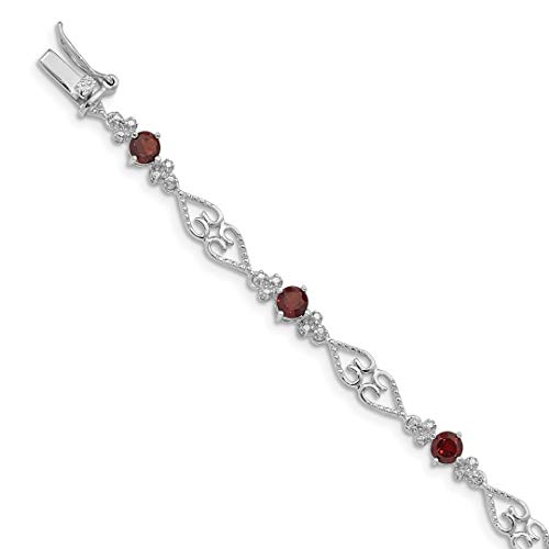 (925 Sterling Silver Diamond Red Garnet Bracelet 7 Inch Gemstone Fine Jewelry For Women Gift Set)
