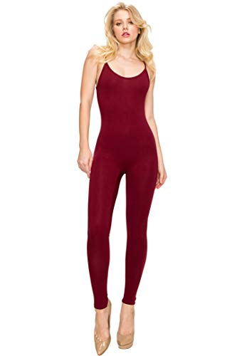 EttelLut Bodycon Jumpsuits Rompers Bodysuit-Long Yoga Span Playsuits for Women Burgundy ()