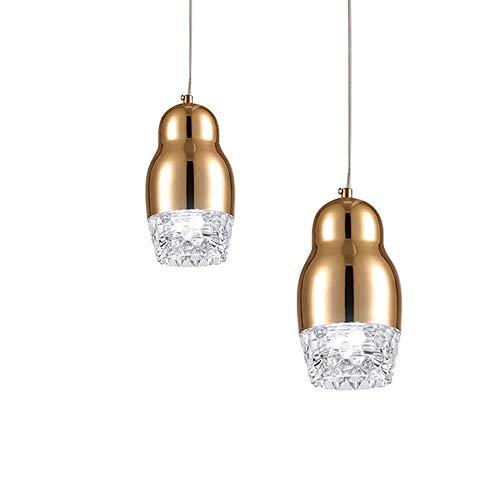 (Postmodern Personality LED Pendant Light Fixture, Creative Adjustable Crystal Pineapple Ceiling Light, Golden Peanut-shaped Minimal Decorative Lighting for Bedroom Restaurant Cafe Chandelier)