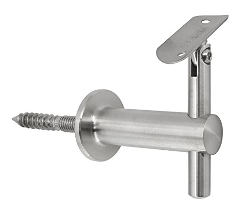 Stainless Steel 316 Wall Mount Staircase Handrail Kit: Adjustable Handrail Bracket (WB-242) for Round Tube, 1-1/2'' OD Round Tubing [Custom-Made], Flat End Cap, Satin Finish, 3 Ft Length by Top Hardware (Image #1)