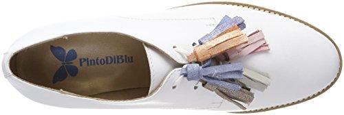 Derby 02 Cordones Blu white Lovebird Para Blanco Pinto Zapatos Mujer De Di 6wBYAB