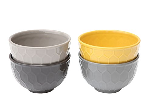 Set of Four Porcelain Bowls with Honeycomb Design - 4.5