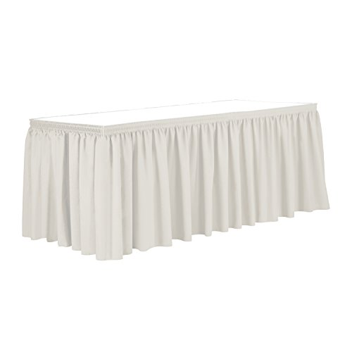 Ultimate Textile 7 ft. Shirred Pleat Polyester Table Skirt - 42'' Bar Height, Oyster by Ultimate Textile