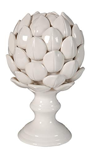 A B Home Ceramic Artichoke Statue Finial 8.7-Inch, White, Set of 2
