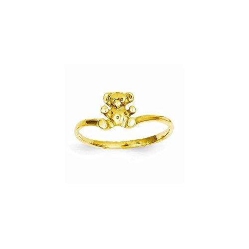 14k Bear Ring Teddy (14k Childs Polished Teddy Bear Ring)