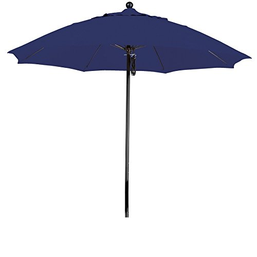 California Umbrella 9' Round 100% Fiberglass Frame Market Umbrella, Push Lift, Black Pole, Navy Blue Olefin