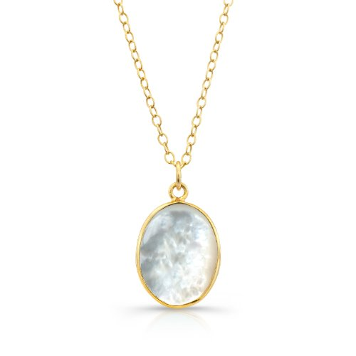 London Manori Oval Pendant w/ Moonstone in Yellow 14K Vermeil Bezel on 14K Gold Filled Cable Chain, 24 (Moonstone Yellow Pendant)