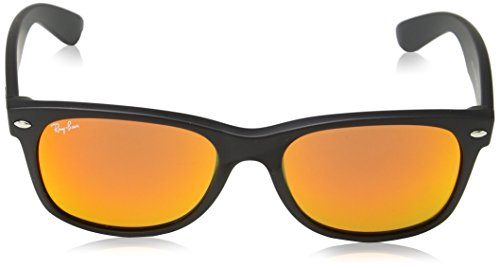 Ray-Ban - Lunettes de Soleil RB2132 New Wayfarer Wayfarer 55 mm rubber black (rubber black)/Red mirror