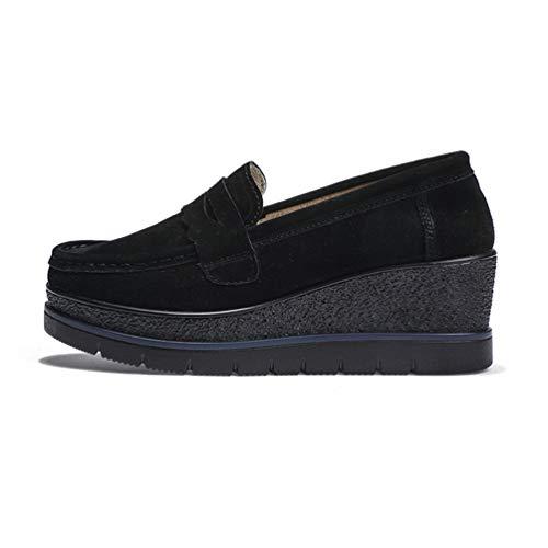 Zapatos Plana Vaca Zapato OtoñO Primavera Calzado Casual Mujer Pisos Cuero Negro De Plataforma Mocasines Mujer CuñAs Hwqx7aC6x