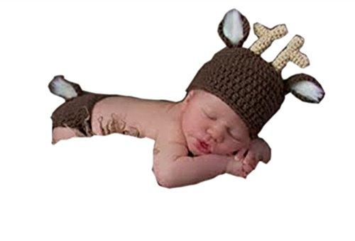 Pinbo® Newborn Baby Photography Prop Crochet Knitted Animal Deer Hat Diaper