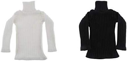 Perfeclan 2点入り 1/6 ミニチュア セーター タートルネック 長袖 12インチドール適用 コスプレ 着せ替え 白 黒