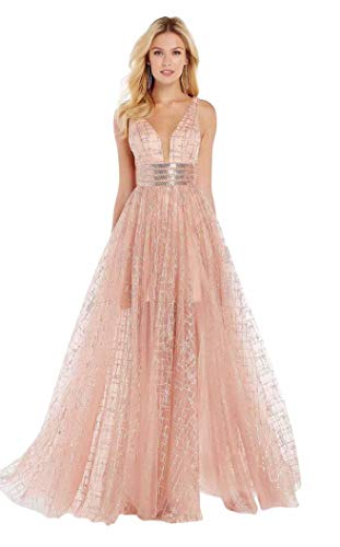 (Alyce Paris 60562 Plunging Sweetheart Glitter Tulle Gown Rosegold Dresses)