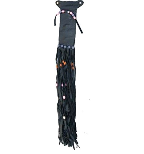 - RC Leather Pony Tail Wrap Holder with Fringes Beads Feathers