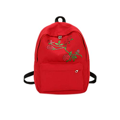 (DreamedU Embroidery Rose College Canvas Laptop Backpack for Women Fashion Cute Travel Light Gym Work Shoulder Bags (Red) )