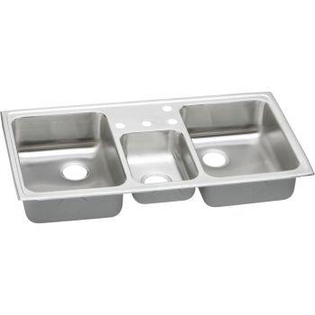 Elkay PSMR43224 Pacemaker Triple-Basin Drop-In Kitchen Sink, 20-Gauge, Stainless Steel (Sink Triple Basin)