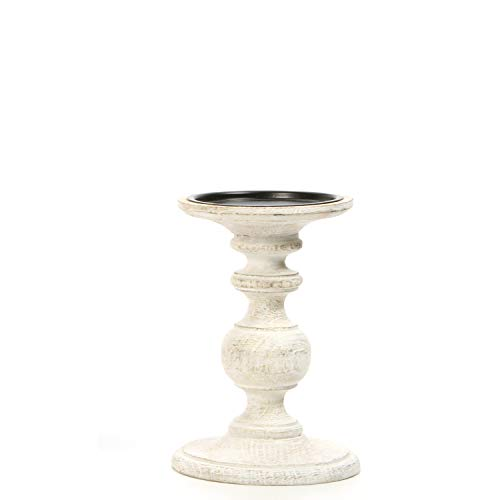 "Hosley White LED Wooden Pillar Candle Holder - Country Style, 7"" High. Ideal Gift for Wedding, Party, Special Occasion or as a Candle Holder. W1"