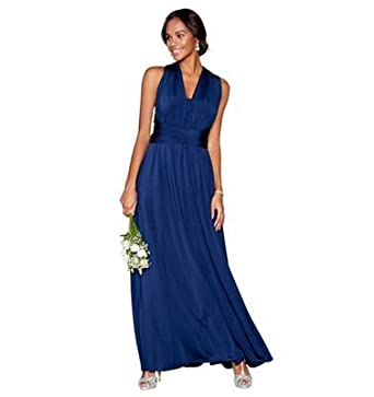 online store preview of discount shop Debut Womens Navy Blue Multiway Maxi Bridesmaid Dress