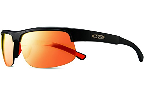Revo Sunglasses Revo Cusp C Polarized Rectangular Sunglasses, Matte Black/Solar Orange, 65 - Sunglasses C.s.
