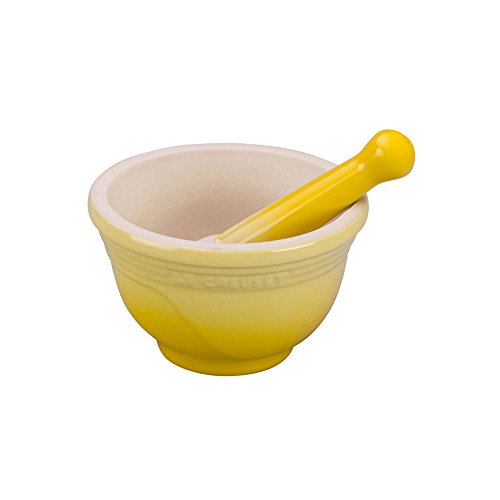 Le Creuset Stoneware Mortar and Pestle, 10-Ounce, Soleil