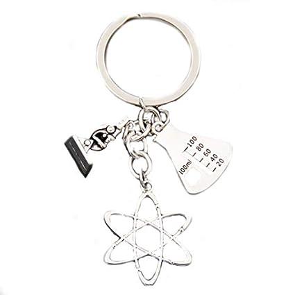Llavero científico con cilindro de medición, atómico y ...