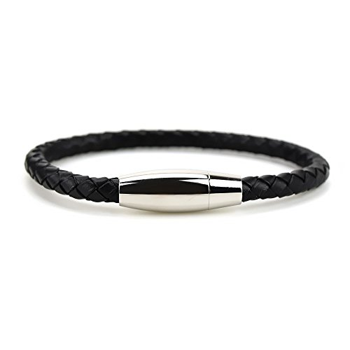 three-keys-jewelry-genuine-cowhide-leather-bracelet-bangle-braided-cord-black-with-durable-stainless