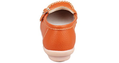 Fangsto Women's Leather Loafers Flats Shoes Slip On Moccasins Orange yEgl6lz