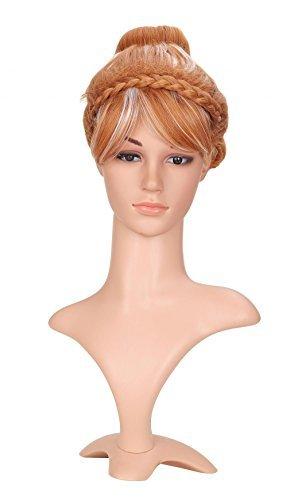LOUISE MAELYS Princess Queen Anime Cosplay Wig Braided Bun Brown Highlight White (Brown Braided Wig)