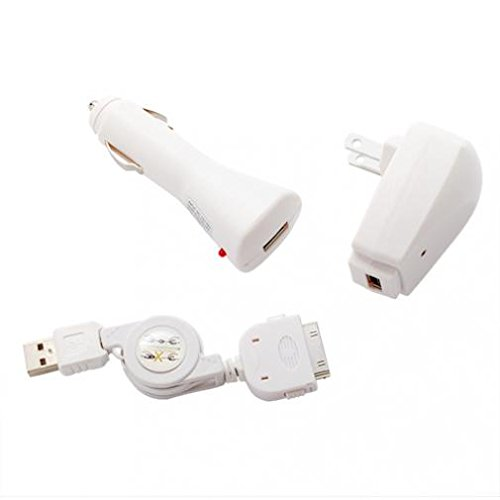 (3-in-1 Home Car Charger USB Retractable Cable Travel Wall Adapter Sync Cord White for Ipod Classic - Ipod Mini - Ipod Nano 1st)