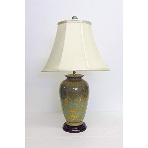 Celadon and Gold Scroll Porcelain Table Lamp