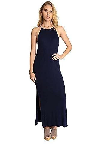 Split Ribbed Maxi Dress in Navy - Split Seal