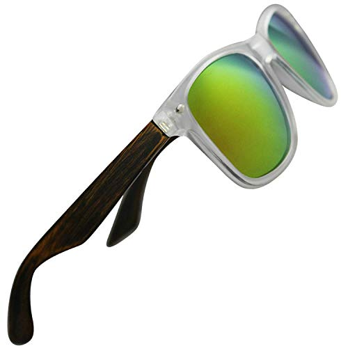 Clear Frame Sunglasses for Men & Women with Polarized Lenses, Real Wood, 100% UV Blocking, HD Lenses (Pear Wood Temples | Clear Front Frame | Yellow|Green Mirrored High Definition Polarized Lenses)
