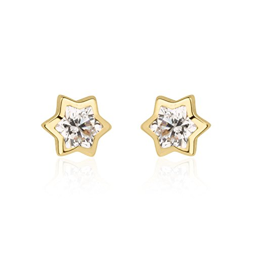 14K Yellow Gold Star with 1 Round cubic zirconia Screwback Stud Earrings Children Jewelry (14k Star Earrings)
