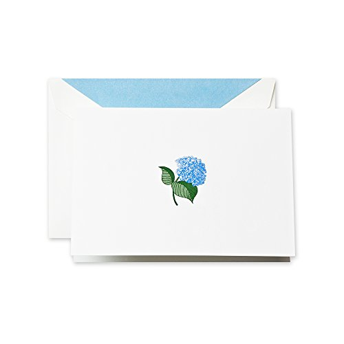(Crane & Co. Hand Engraved Blue Hydrangea Note (RF1407), Pack of)